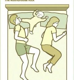 家里有了宝宝 一家三口的睡姿变得有趣
